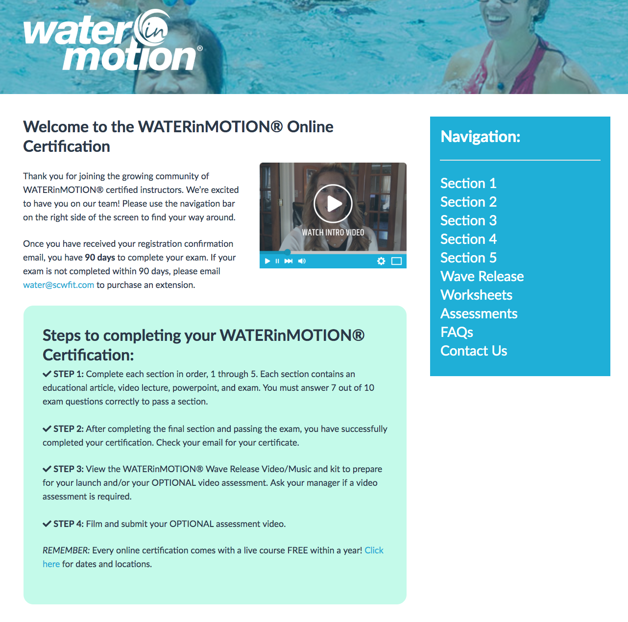 Online Certification Course – WATERinMOTION®